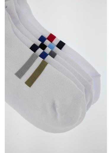 DeFacto Çizgili 4'lü Patik Çorap Beyaz